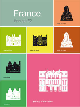 versailles   france: Landmarks of France  Set of flat color icons in Metro style  Editable vector illustration