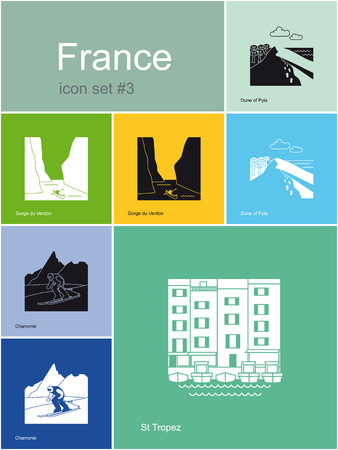 Landmarks of France  Set of flat color icons in Metro style  Editable vector illustration