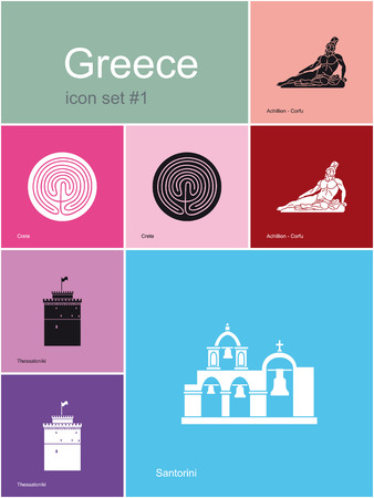 santorini greece: Landmarks of Greece  Set of flat color icons in Metro style  Editable vector illustration