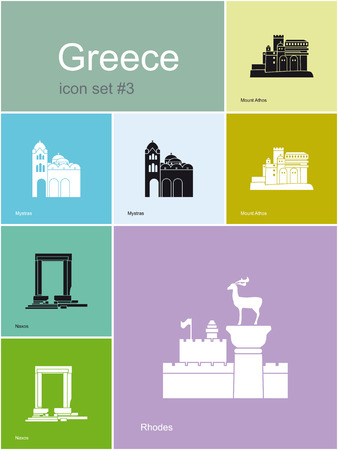 Landmarks of Greece  Set of flat color icons in Metro style  Editable vector illustration