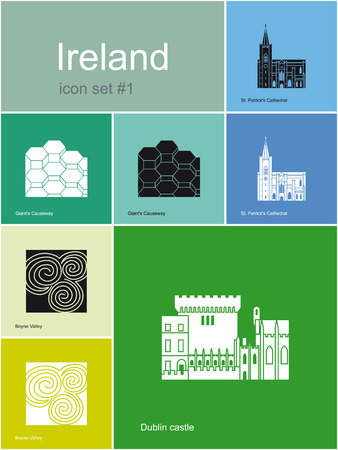 Landmarks of Ireland  Set of flat color icons in Metro style  Editable vector illustration  Vector