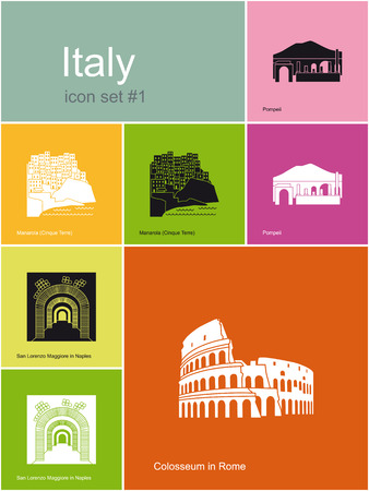 pompeii: Landmarks of Italy  Set of flat color icons in Metro style  Editable vector illustration