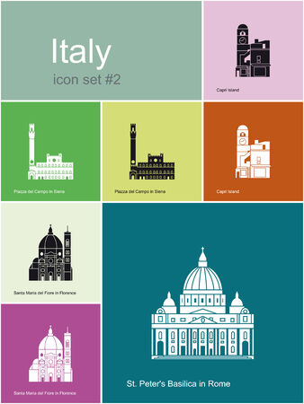 siena italy: Landmarks of Italy  Set of flat color icons in Metro style  Editable vector illustration
