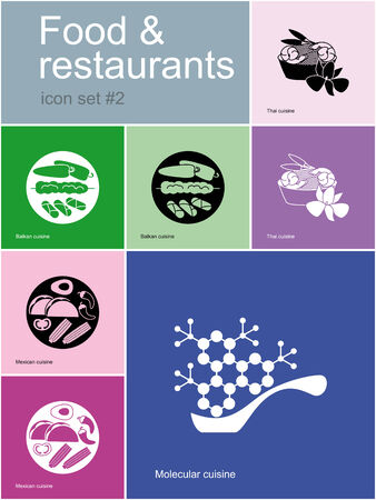 thai orchid: Restaurant icons. Set of editable vector color illustrations in Metro style.