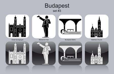 Landmarks of Budapest  Set of monochrome icons  Vector