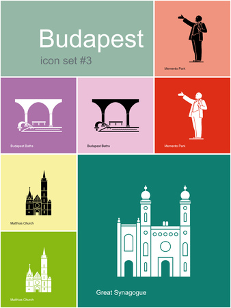Landmarks of Budapest  Set of flat color icons in Metro style  Editable Vector