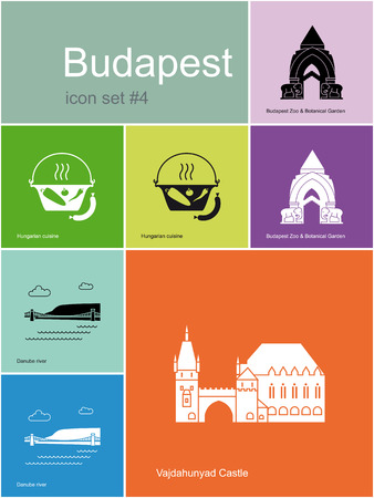 Landmarks of Budapest  Set of flat color icons in Metro style  Editable