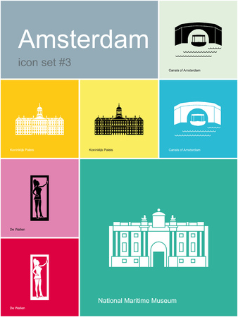 amsterdam canal: Landmarks of Amsterdam. Set of flat color icons in Metro style. Illustration