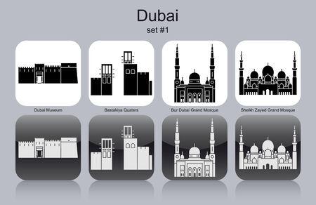Monumentos históricos de Dubai. Conjunto de iconos en monocromo. Ilustración vectorial editable.