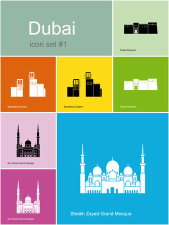 bur dubai: Landmarks of Dubai. Set of color icons in Metro style. Editable vector illustration.