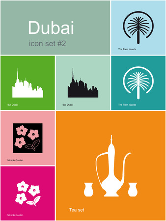 dubai: Landmarks of Dubai. Set of color icons in Metro style. Editable vector illustration.