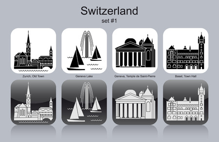 swiss culture: Landmarks of Switzerland. Set of monochrome icons. Editable vector illustration.