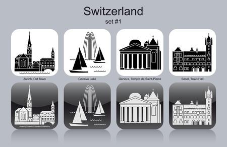 Monuments de la Suisse. Ensemble d'icônes monochromes. Illustration vectorielle modifiable. Banque d'images - 29697316
