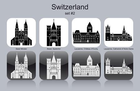 スイスのランドマーク。モノクロのアイコンのセットです。編集可能なベクトル イラスト。  イラスト・ベクター素材
