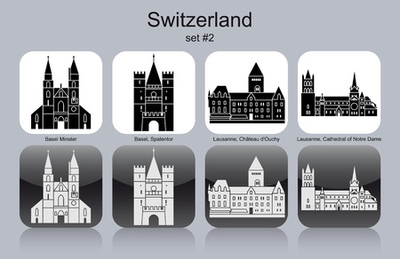 minster: Landmarks of Switzerland. Set of monochrome icons. Editable vector illustration.