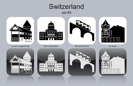 alpes suizos: Monumentos hist�ricos de Suiza. Conjunto de iconos en monocromo. Ilustraci�n vectorial editable. Vectores