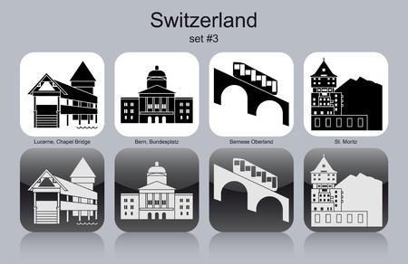 Landmarks of Switzerland. Set of monochrome icons. Editable vector illustration.