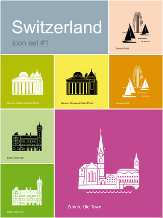 Landmarks of Switzerland. Set of color icons in Metro style. Editable vector illustration. Vector