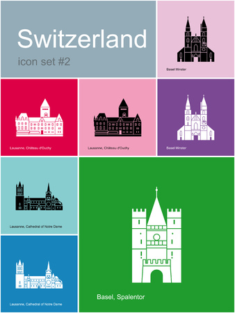 swiss culture: Landmarks of Switzerland. Set of color icons in Metro style. Editable vector illustration.