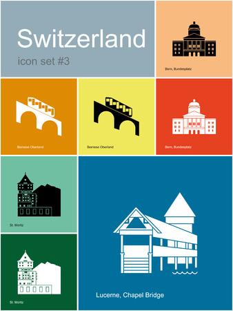alpes suizos: Monumentos hist�ricos de Suiza. Conjunto de iconos de colores en estilo Metro. Ilustraci�n vectorial editable.