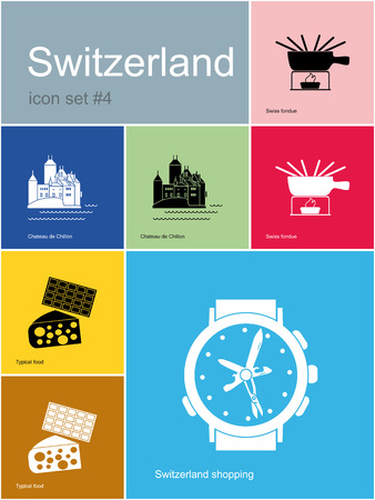 chillon: Landmarks of Switzerland. Set of color icons in Metro style. Editable vector illustration.