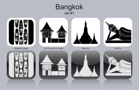 reclining: Landmarks of Bangkok. Set of monochrome icons.