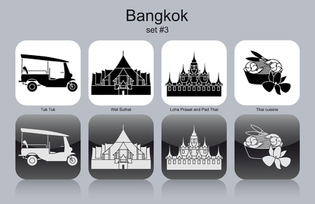 thai orchid: Landmarks of Bangkok. Set of monochrome icons.
