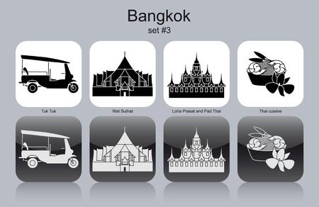 Landmarks of Bangkok. Set of monochrome icons.