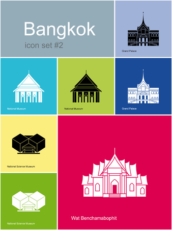 siam: Landmarks of Bangkok. Set of color icons in Metro style.  Illustration