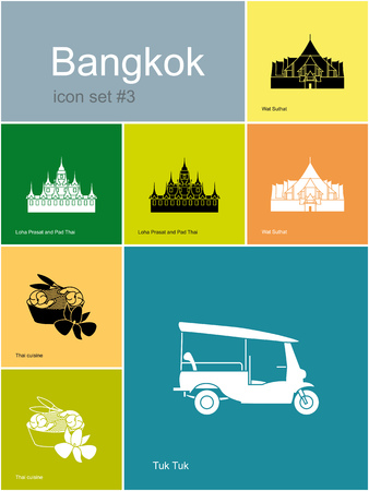 mototaxi: Landmarks of Bangkok. Set of color icons in Metro style.  Illustration
