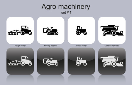 Agro machinery in set of monochrome icons.