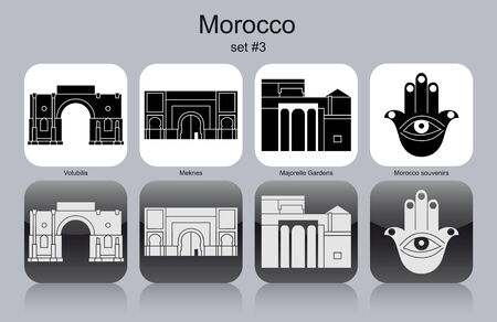 volubilis: Landmarks of Morocco. Set of monochrome icons.