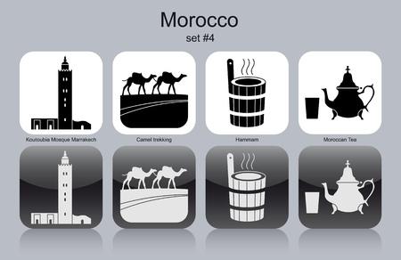 Sites d'intérêt du Maroc. Ensemble d'icônes monochromes.