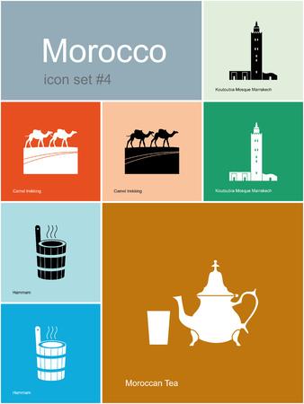 Sites d'intérêt du Maroc. Ensemble d'icônes de couleur dans le style Metro.