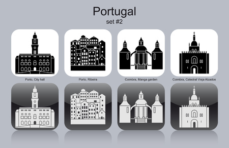 Landmarks of Portugal. Set of monochrome icons.  Vector