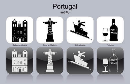 toboggan: Landmarks of Portugal. Set of monochrome icons.