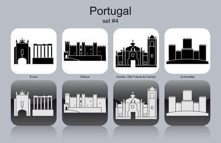 azores: Landmarks of Portugal. Set of monochrome icons.
