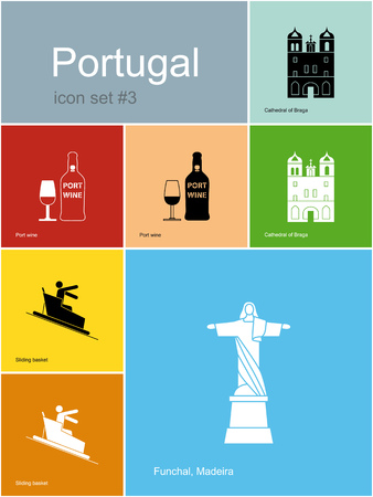 toboggan: Landmarks of Portugal. Set of color icons in Metro style.  Illustration
