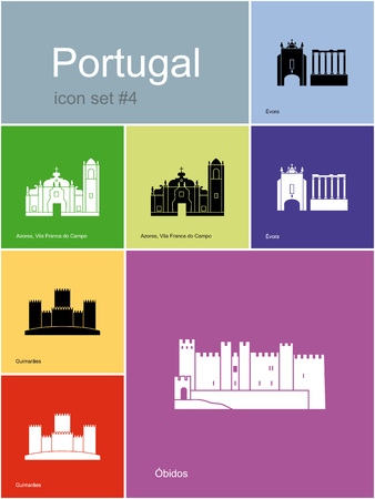 azores: Landmarks of Portugal. Set of color icons in Metro style.  Illustration