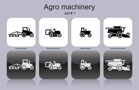cosechadora: Maquinaria Agro en conjunto de iconos monocromáticos. Vectores