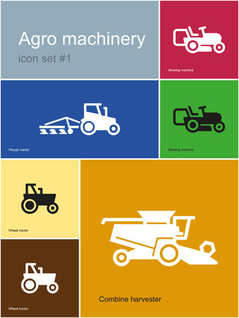 harrow: Agro machinery in set of Metro styled icons.
