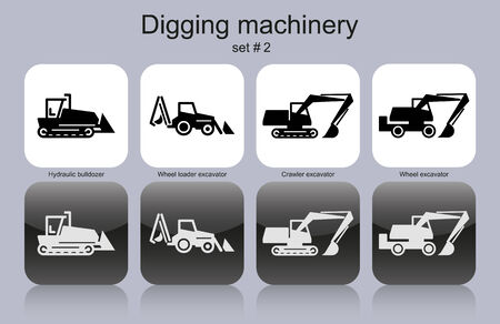 digging: Digging machinery in set of monochrome icons.  Illustration