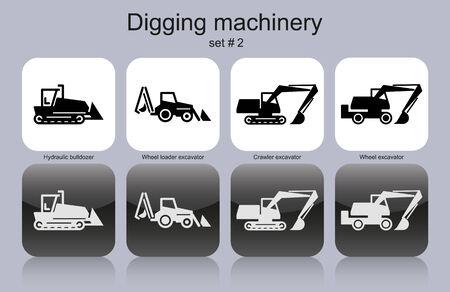 hydraulic platform: Excavar maquinaria en conjunto de iconos monocrom�ticos.