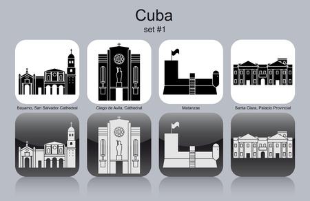 provincial: Landmarks of Cuba. Set of monochrome icons. Editable vector illustration. Illustration