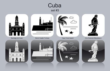 che guevara: Landmarks of Cuba. Set of monochrome icons. Editable vector illustration. Illustration
