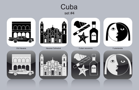 havana cigar: Landmarks of Cuba. Set of monochrome icons. Editable vector illustration. Illustration