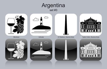 end of world: Landmarks of Argentina. Set of monochrome icons. Editable vector illustration. Illustration