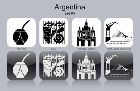 buenos aires: Landmarks of Argentina. Set of monochrome icons. Editable vector illustration. Illustration