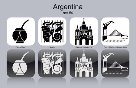 yerba mate: Monumentos históricos de la Argentina. Conjunto de iconos monocromáticos. Ilustración vectorial editable.
