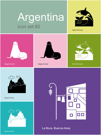 buenos: Landmarks of Argentina. Set of color icons in Metro style. Editable vector illustration. Illustration